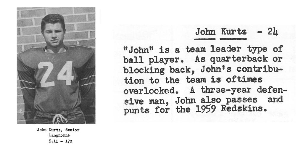 1959 Senior John Kurtz Senior Bio