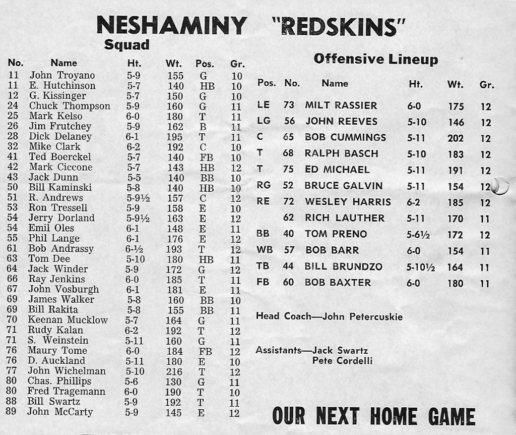 1962 Roster from Allen Game