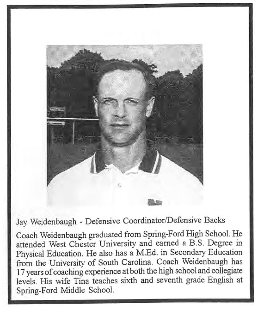 1999 Coach Jay Weidenbaugh