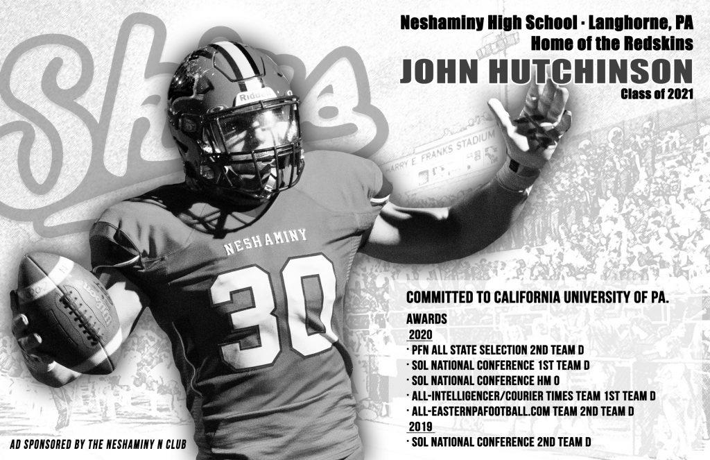 HP BW Ad for 2021 EW Game Neshaminy HS John Hutchinson