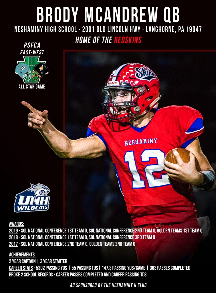 FP Color Ad for 2020 EW Game Neshaminy HS Brody McAndrew Color